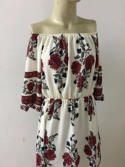 Women's Bohemia  Off-Shoulder Floral Dress -