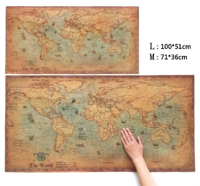 Antique Style World Map Poster Wall Decor -