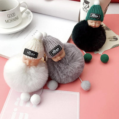 Adorable Fur Ball Doll Key Rings -