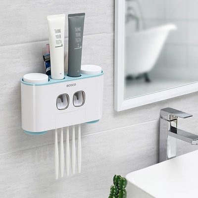 Toothbrush holder with automatic toothpaste dispenser -