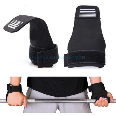 Weight Lifting Gloves Grip Straps - Black