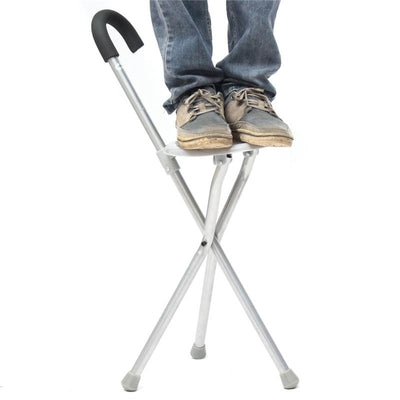 Portable Walking Stick With Plastic Seat -