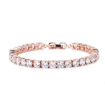Cubic Zirconia Chain Bracelet - 3MM ROSE / 18CM