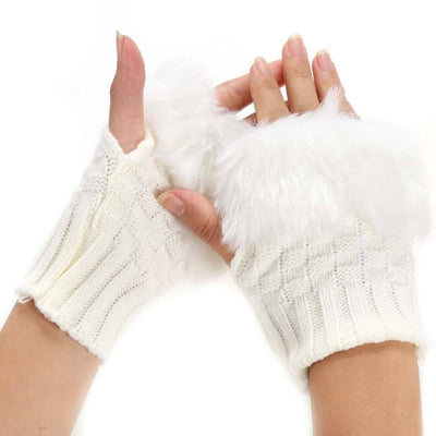 Fluffy Fur Winter Gloves - White