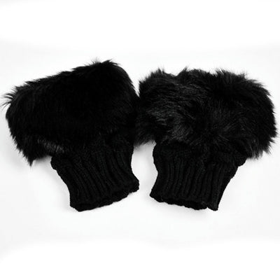 Fluffy Fur Winter Gloves - Black