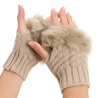 Fluffy Fur Winter Gloves - Khaki