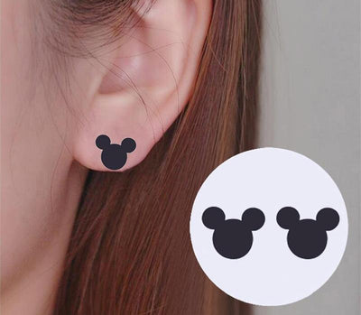 Romantic Mickey Bear Stud Earrings -