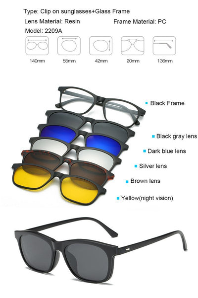Clip Magnetic Sunglass Set - 2209A
