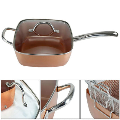 Copper Pan 5 in 1 Multi-Functional Non-Stick Pan