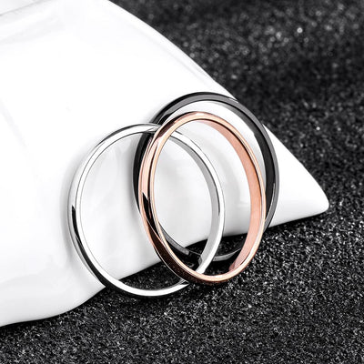 Titanium Steel & Rose Gold Simple Wedding Ring -
