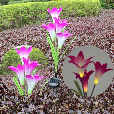 Solar Powered Garden Lily Flower Light Stakes -