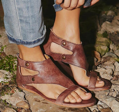 Gladiator Beach Flat Leather Sandals -