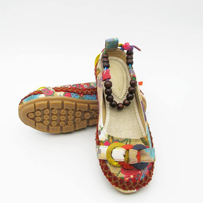 Handmade Beaded Ankle Straps Flat Shoes -