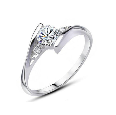 Crystal Wedding Charm Ring - 4 / White / Platinum