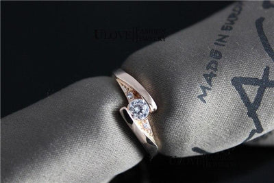Crystal Wedding Charm Ring -