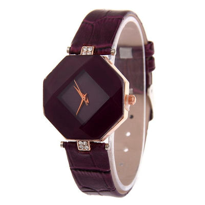 Crystal Leather Quartz Wristwatch - Purple