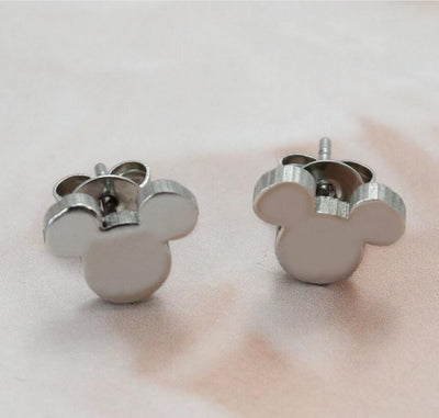 Romantic Mickey Bear Stud Earrings - Mickey / Steel