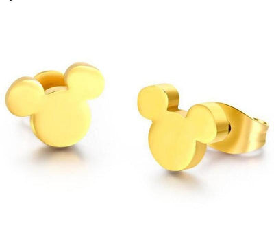 Romantic Mickey Bear Stud Earrings - Mickey / Gold