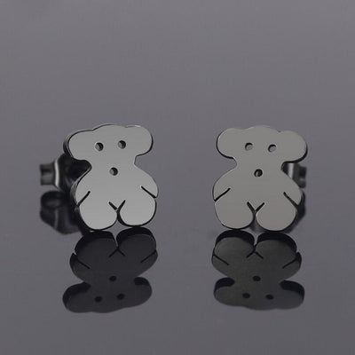Romantic Mickey Bear Stud Earrings - Bear / Black