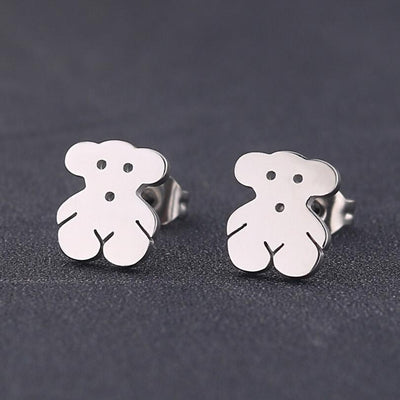 Romantic Mickey Bear Stud Earrings - Bear / Steel