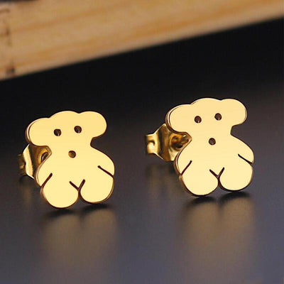 Romantic Mickey Bear Stud Earrings - Bear / Gold
