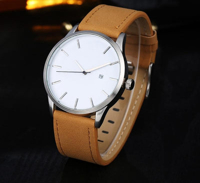 Leather Quartz Wrist Watch -