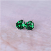 Crystal Dainty Stud Earrings - platinum green