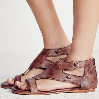 Gladiator Beach Flat Leather Sandals - Brown / 5