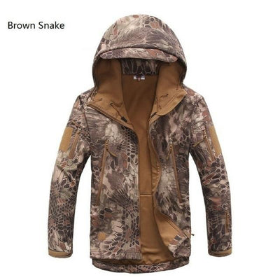 Softshell Tactical Hooded Jacket - Brown Snake / S