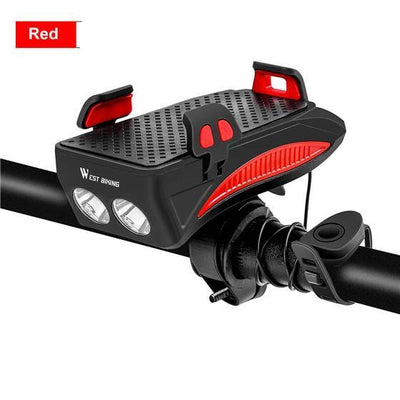 Multifunction 4 IN 1 Bike Night Light + Horn + Phone Holder + Charger - Red