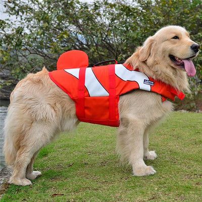 Dog Life Jacket - red clown fish / S