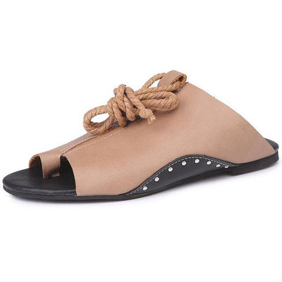 Ankle Strap Flat Shoes for Women - coffee / 5