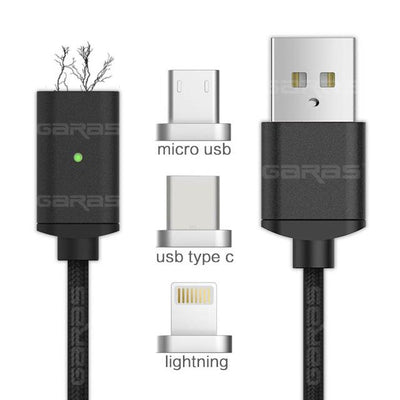 Lightning Cable - 3-in-1 (iOS+Micro+Type-C) Cable / Black / 1m