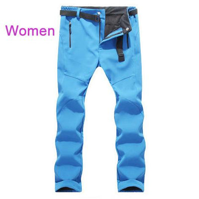 Womens Snow Pants with Fleece Interior - sky blue / S