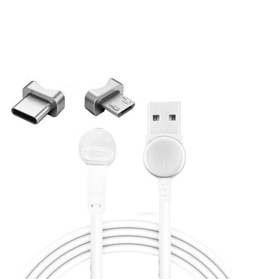 180° Magnetic Ring Charging Cable - 2 plug White