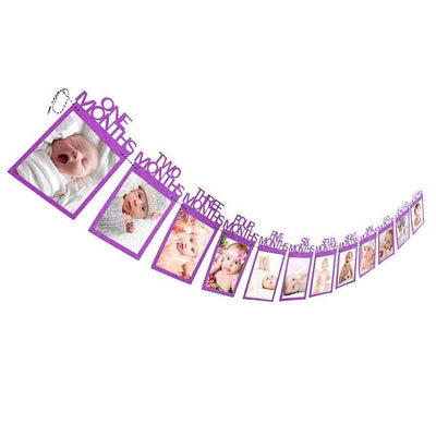 Baby Birthday Banner - purple months