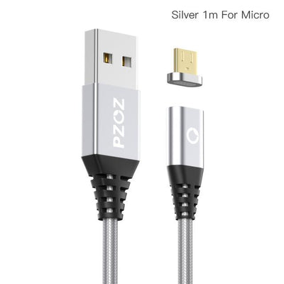 Magnetic Adsorption Data Cable - Silver 1m For Micro