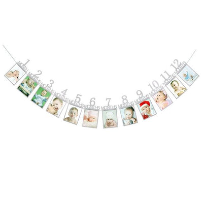 Baby Birthday Banner - silver  number