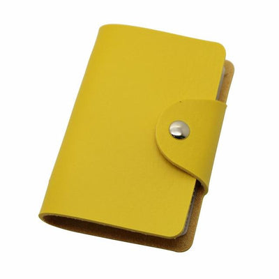 Unisex 24 Bits Leather Card Case - yellow