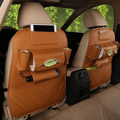 Faux Leather Car Back Seat Organizer - yellow