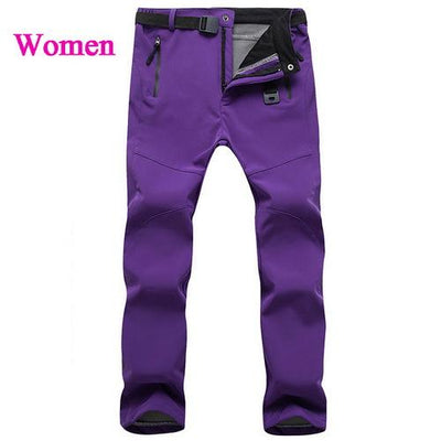 Womens Snow Pants with Fleece Interior - purple / S