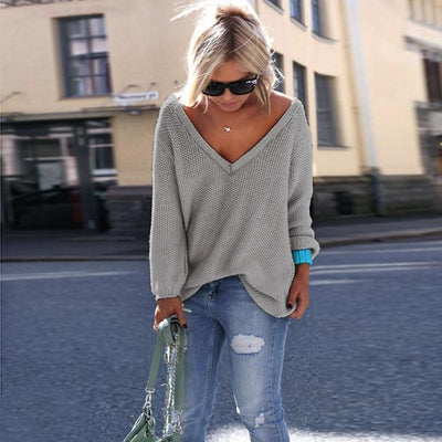 Long Sleeve Knitted Sweaters - 0069 light gray / S