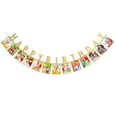 Baby Birthday Banner - gold happy birthday