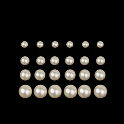 Luxury Fashion Freshwater Pearl Stud Earrings - 12 Pair Gold
