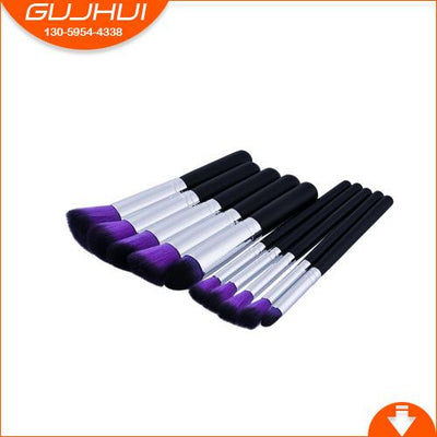 Flawless Makeup Brush - 10 PCs - 10 Purple - Black