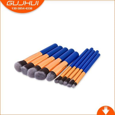 Flawless Makeup Brush - 10 PCs - 10 Blue - Gold