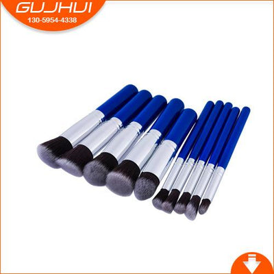 Flawless Makeup Brush - 10 PCs - 10 Blue - Silver