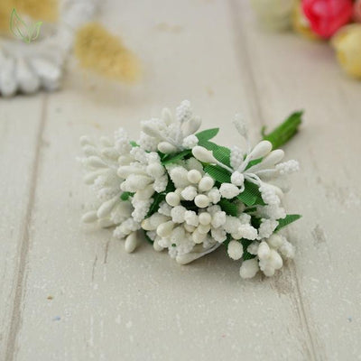 Handmade Stamen Flower Set (12Pcs) - 10 white