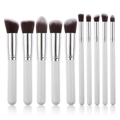 Flawless Makeup Brush - 10 PCs - 10 White - Silver