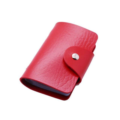Unisex 24 Bits Leather Card Case - red